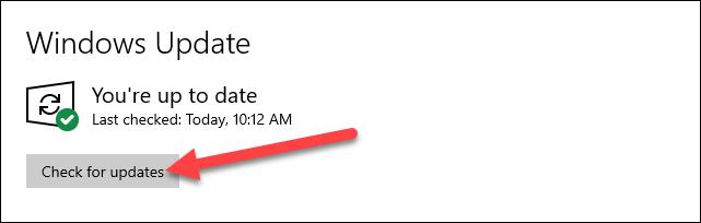 تحقق من وجود تحديثات Windows.