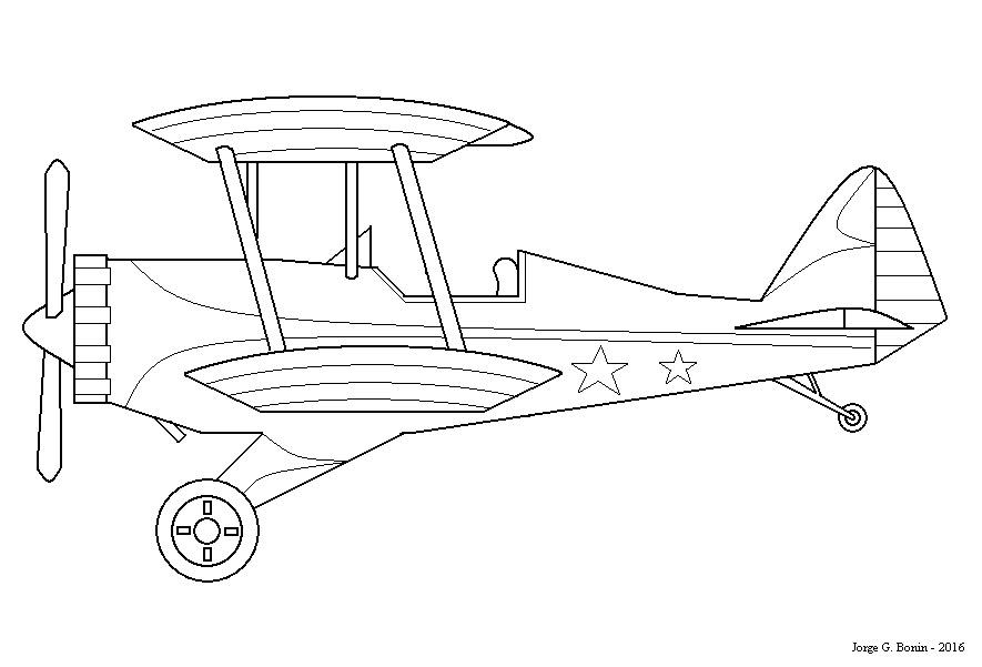 Arte No Paint: Desenho Para Colorir: Avião Biplano