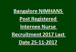 Bangalore NIMHANS Post Registered Internee Nurse Recruitment Notification 2017 Last Date 25-11-2017
