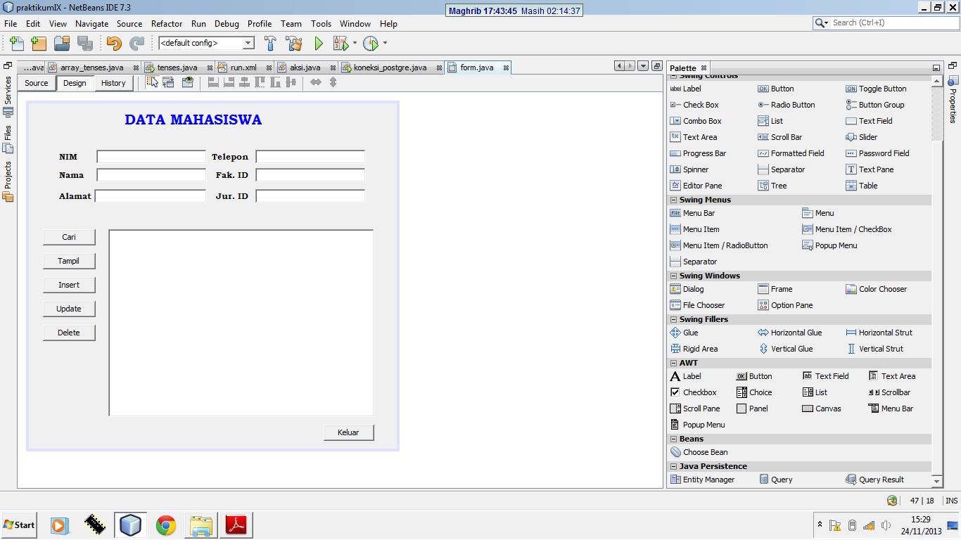 Koneksi PostgreSQL dengan Java Menggunakan GUI Netbeans - Kelas