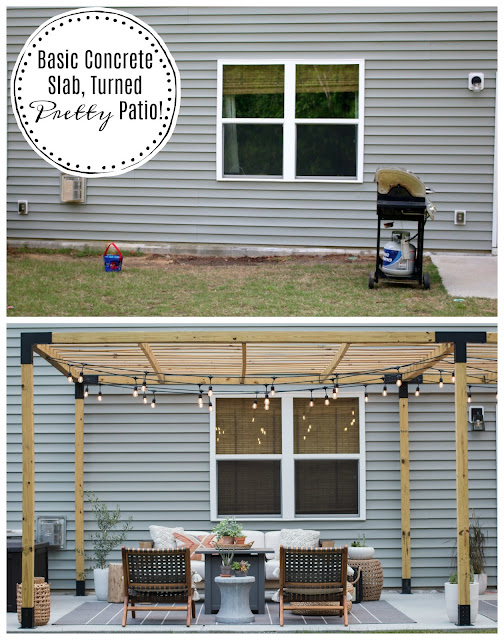 Before and After Patio Makeover with a Modern Pergola