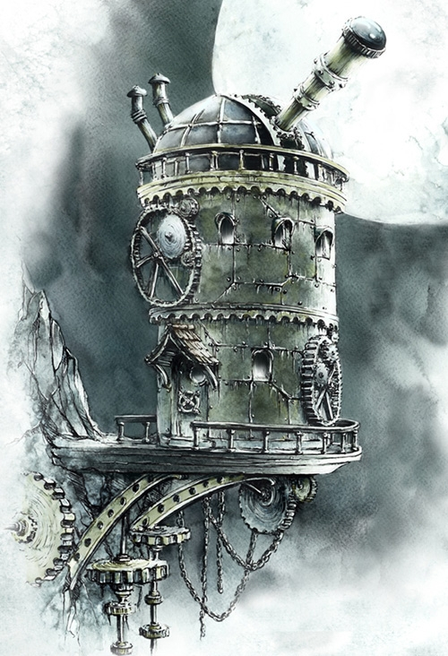 07-Steampunk-Observatory-Elwira-Pawlikowska-Gothic-and-Steampunk-style-Architecture-with-Ink-and-Watercolor-Illustrations-www-designstack-co