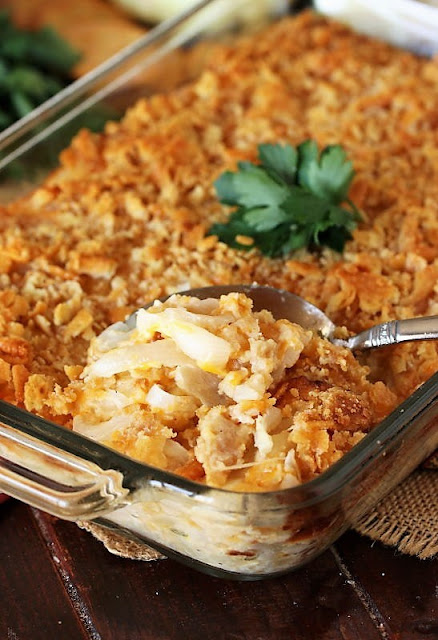 Vidalia Onion Casserole in Baking Dish Image