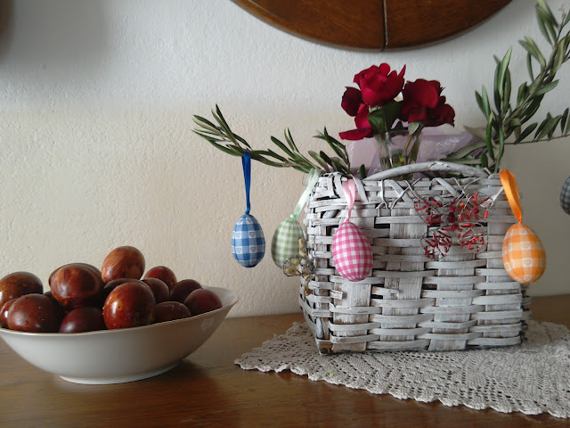 white basket Easter eggs