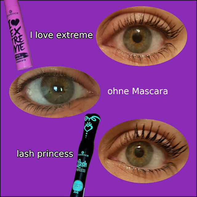 "Hier seht ihr super den Vergleich!  ""I love extreme crazy volume mascara"" und ""lash princess false lash effect mascara"""