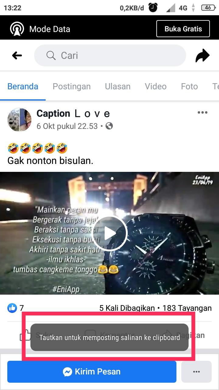 Cara Copy Link Video Facebook lite