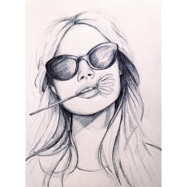 pencil, postrait, girl, sketch