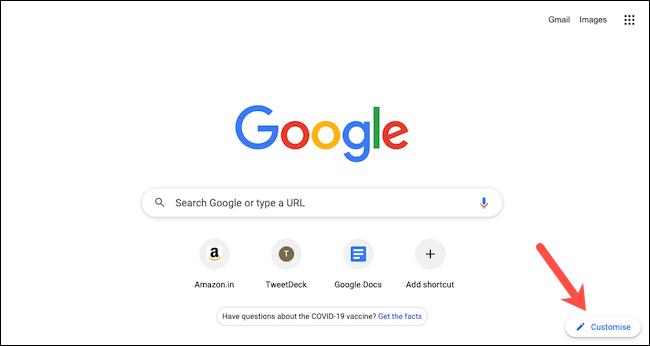 """انقر فوق """"تخصيص"""" لتخصيص صفحة علامة التبويب الجديدة في Google Chrome."""