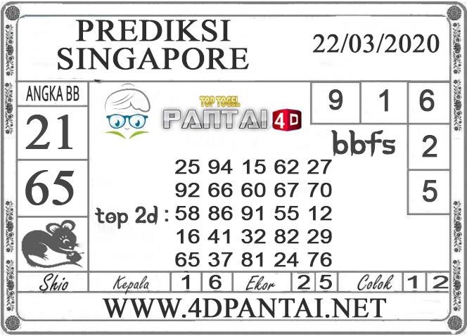 PREDIKSI TOGEL SINGAPORE PANTAI4D 22 MARET 2020