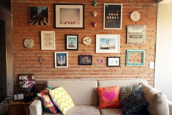 Brick wall and photo frame for decorating the room