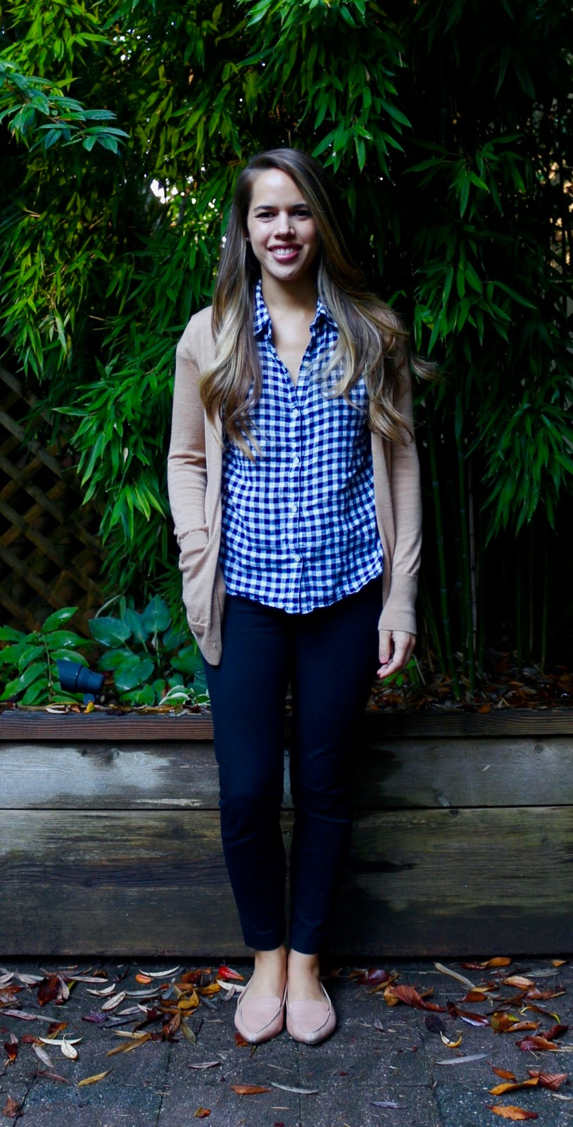 Jules in Flats - Gingham Button Down with Camel Cardigan (Business Casual Fall Workwear on a Budget)