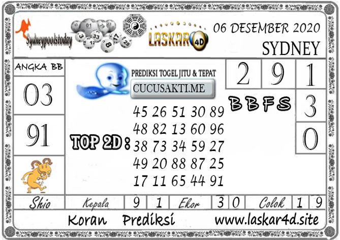 Prediksi Togel SYDNEY LASKAR4D 06 DESEMBER 2020