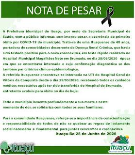 Nota de Ituaçu de Coronavírus
