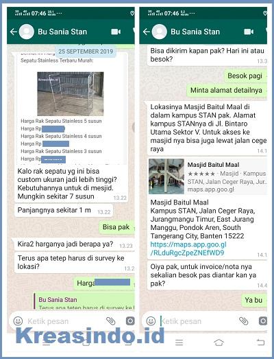Rak Sepatu Stainless pesanan Masjid Baitul Maal Kampus STAN Pondok Aren Tangerang