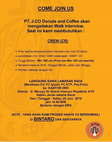 Penerimaan Tenaga Crew Pt Jco Donuts And Coffee Minimal Sma Smk Sederajat Rekrutmen Lowongan Kerja Bulan Februari 2021