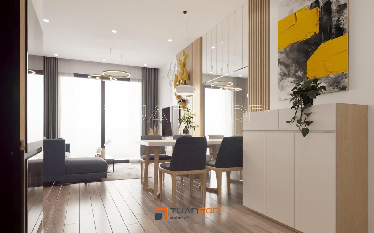 Thiết kế nội thất căn hộ 2PN+1 (55m2) S1.05-12A Vinhomes Smart City Tây Mỗ