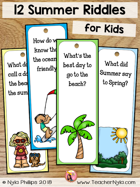 Summer Riddle bookmarks for Kids
