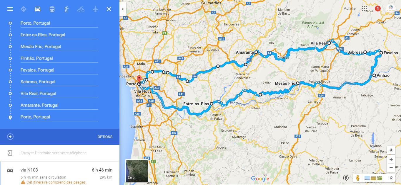 vallée du douro portugal carte Ailleurs sur Terre: Zoom sur la vallée du Douro en voiture