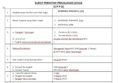 Download SPPD Pengambilan Dana BOS (Contoh Surat Perintah Perjalanan Dinas (SPPD) Mengambil Dana BOS)
