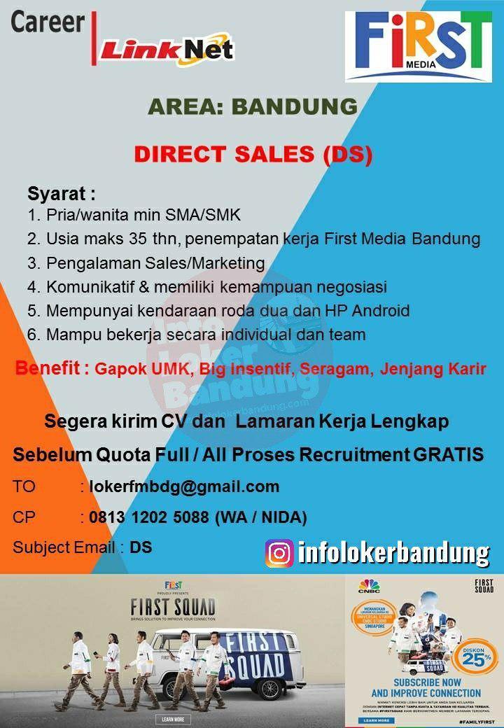 Lowongan Kerja Direct Sales First Media PT. Cahaya Bumi Nasional Bandung Agustus 2019