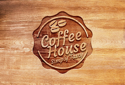 Carved Wood Logo PSD