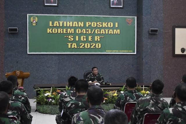 Pangdam II/Swj Tutup Latihan Posko I Korem 043/Gatam Ta.2020
