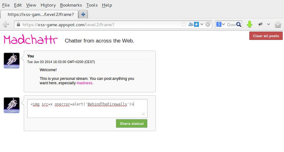 XSS-game by Google exercises 1, 2 and 3  ~ Hacking while you