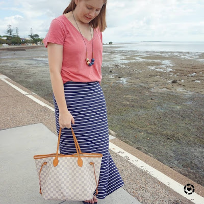 awayfromtheblue Instagram | summer SAHM style navy stripe maxi skirt raspberry v neck tee casual outfit with louis vuitton neverfull MM