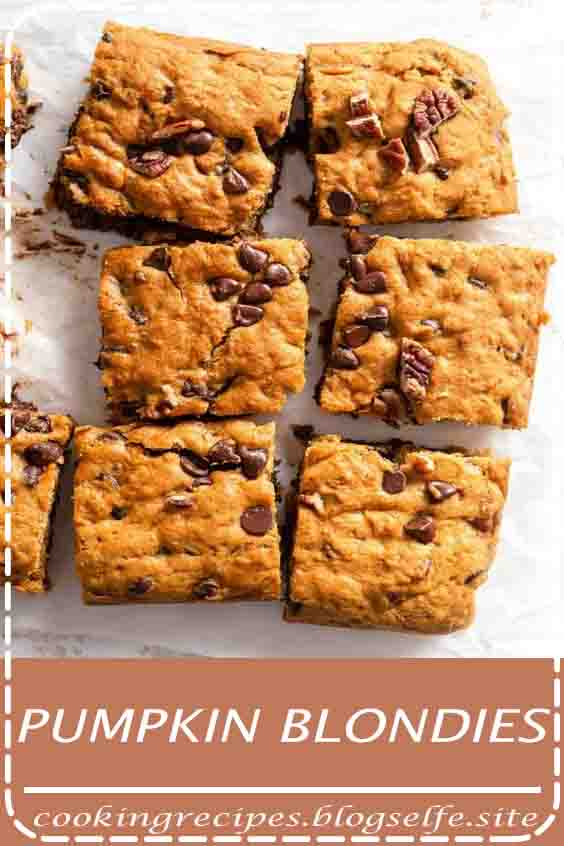 4.8 ★★★★★ | Pumpkin Blondies are the perfect balance of chewy and cakey. Loaded with chocolate chips, these blondie bars are a fun fall treat to make for your family! #dessert #recipes #easy #no bake #healthy