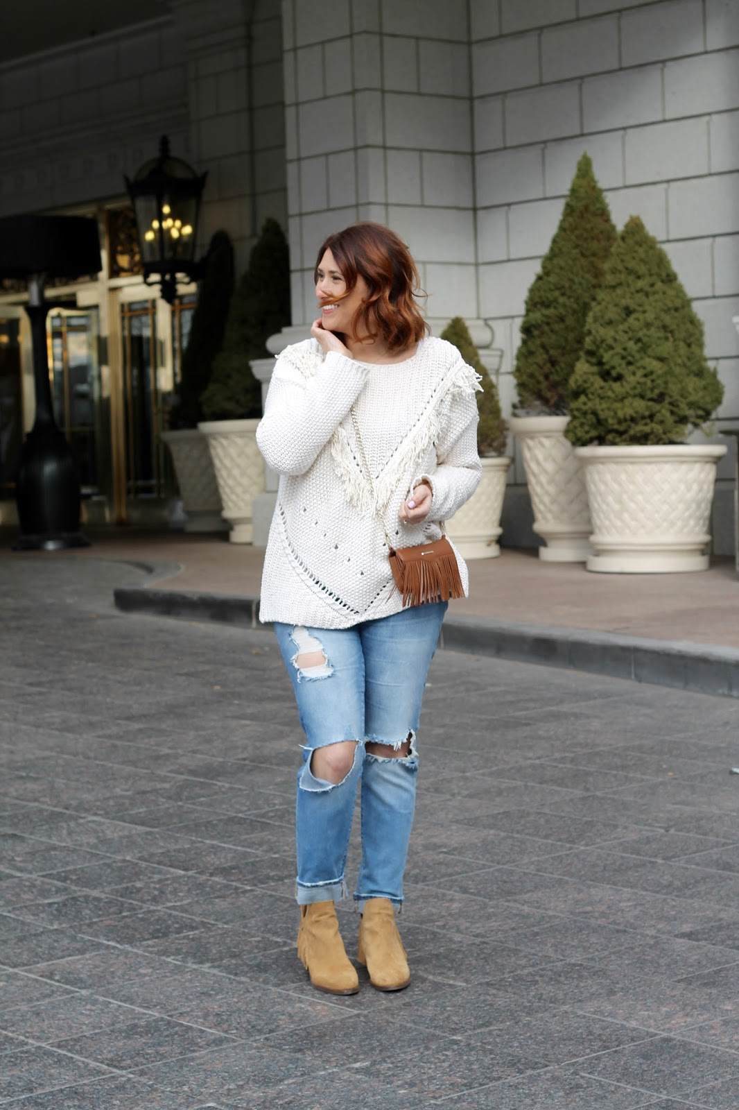 fringe, sweater, fringe booties, ripped jeans, rebecca Minkoff fringe bag