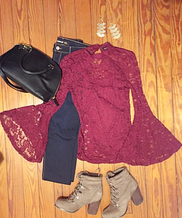 lace burgundy bell sleeve top outfit of the day