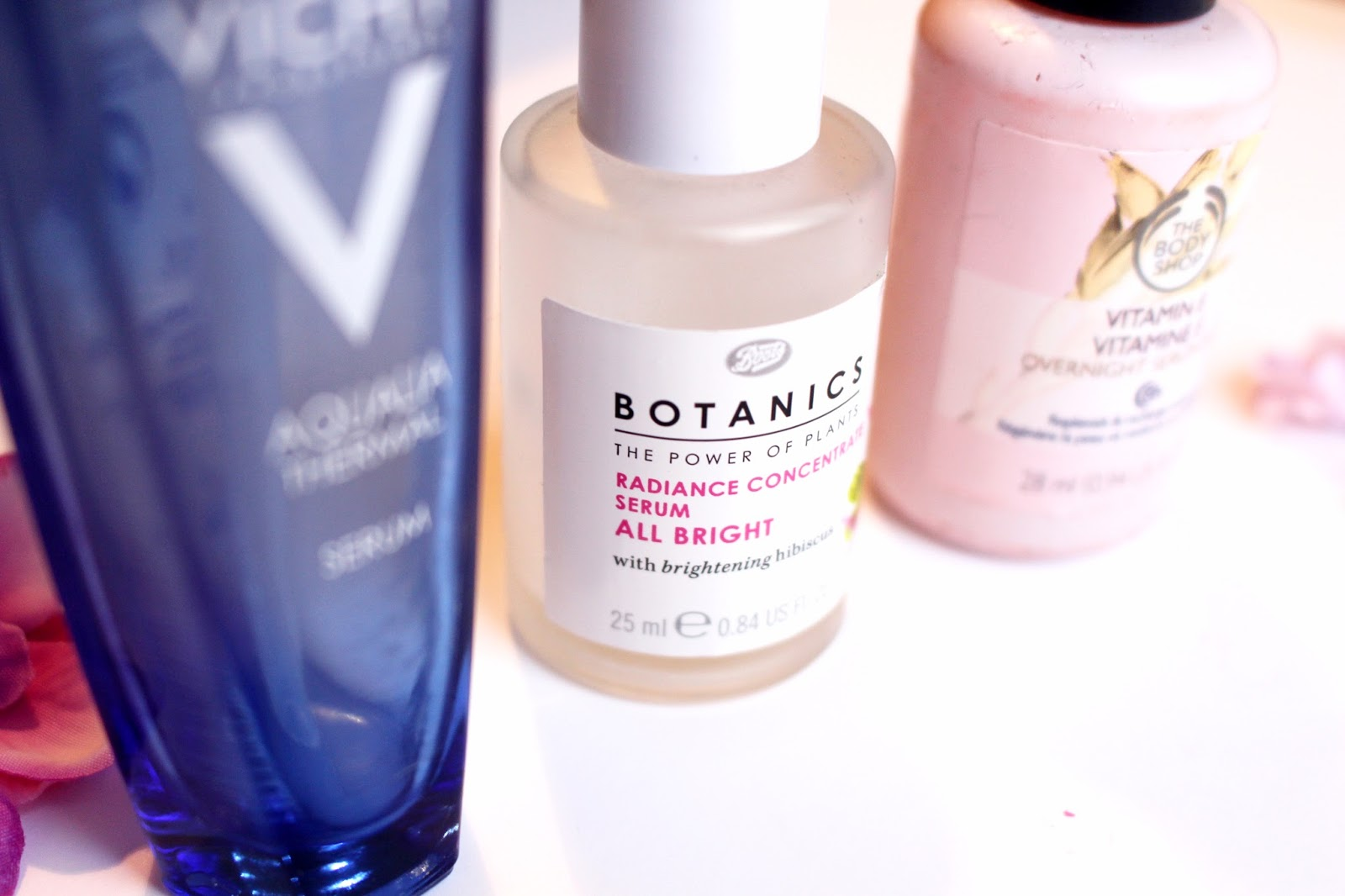 vichy bodyshop and boots radiance facial serum, hydration, skincare