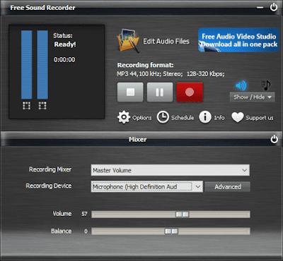 برنامج تسجيل الصوت من الكمبيوتر Free Sound Recorder