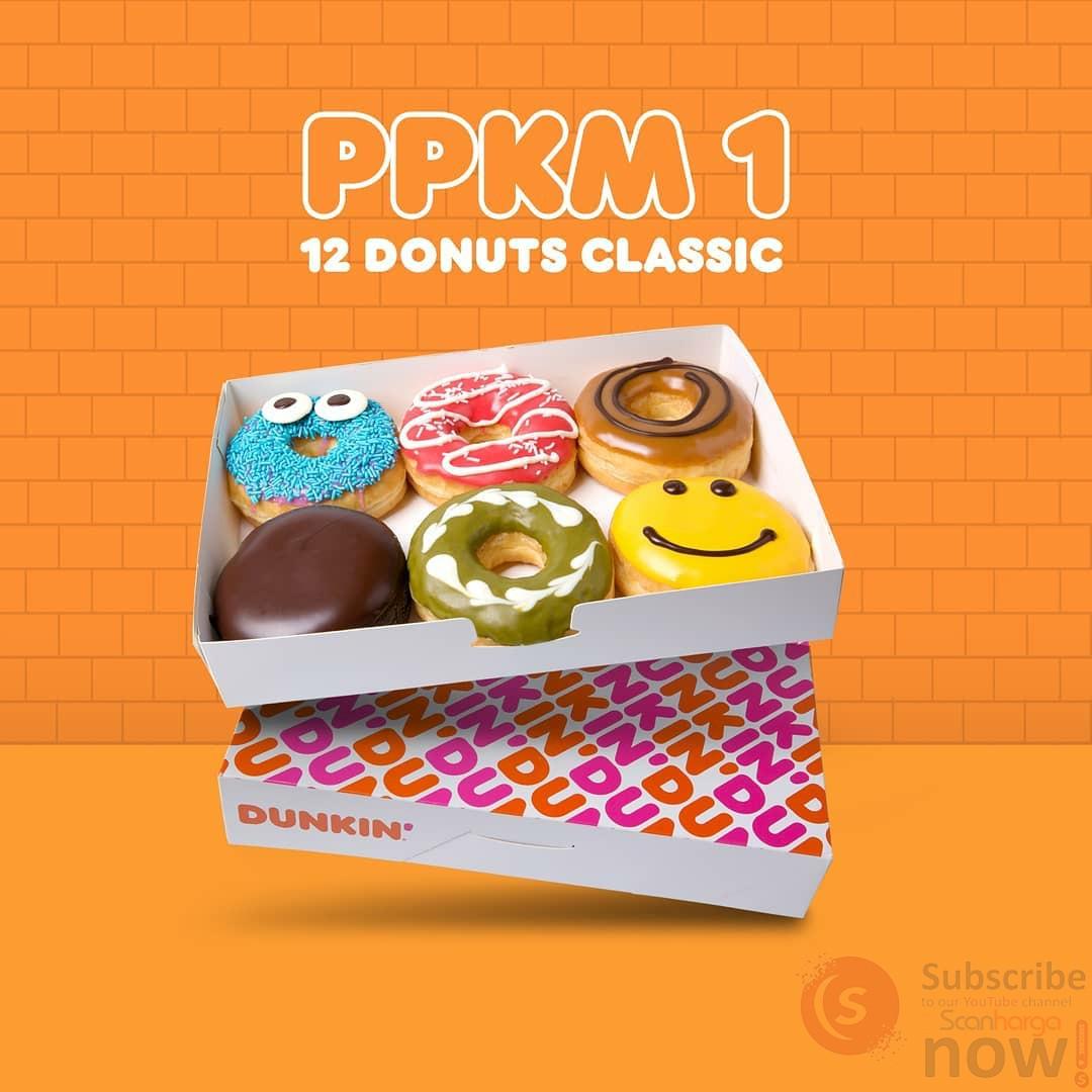 Promo Dunkin Donuts PPKM Paket 1 - (12 Donuts Classic) cuma 88K