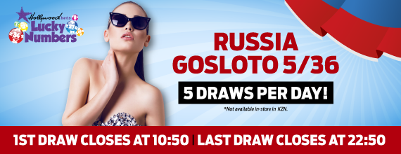 Russia Gosloto 5/36 - Lucky Numbers - Hollywoodbets - Lotto - Five Daily Draws