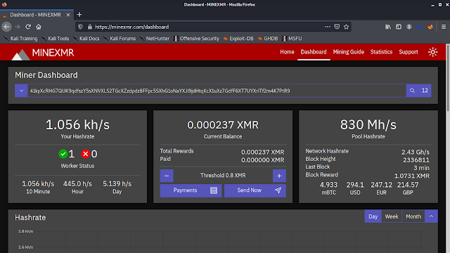 MineXMR monero mining dashboard