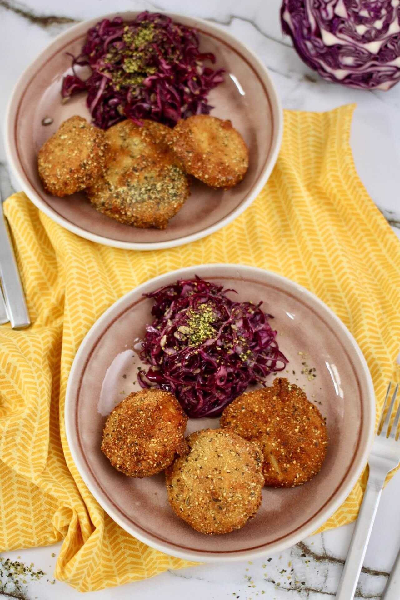 Rezept Kürbisschnitzel mit Krautsalat