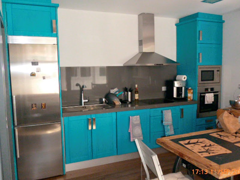 Muebles de cocina en azul  Carpintera en Madrid