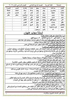 مذكرة ابن عاصم في اللغة العربية للصف الرابع الابتدائي الترم الأول