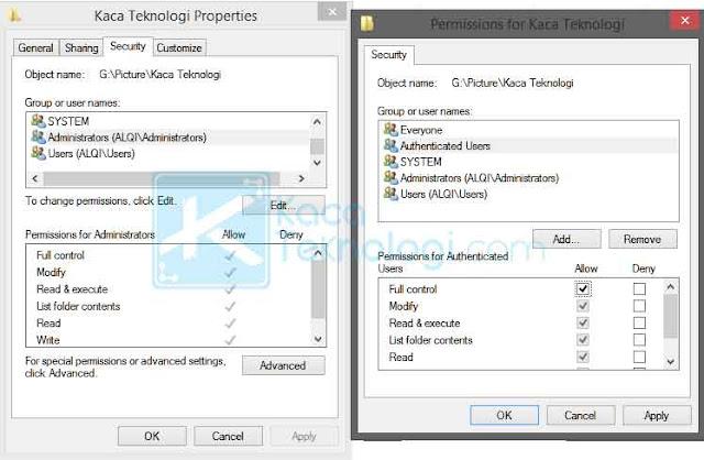 Cara mengatasi error Destination Folder Access Denied, you need permission to perform this action di Windows 7/8//10 saat copy & paste file/folder dan juga unspecified error.