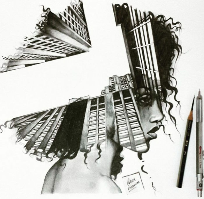 01-Skyscraper-Patrick-Antounian-Black-and-White-Double-Exposure-Drawings-www-designstack-co