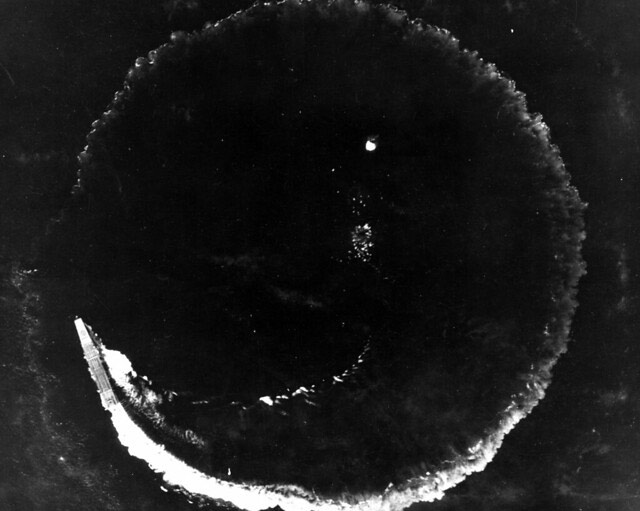 Japanese carrier Hiryu dodges bombs from B-17 bombers on 4 June 1942 worldwartwo.filminspector.com