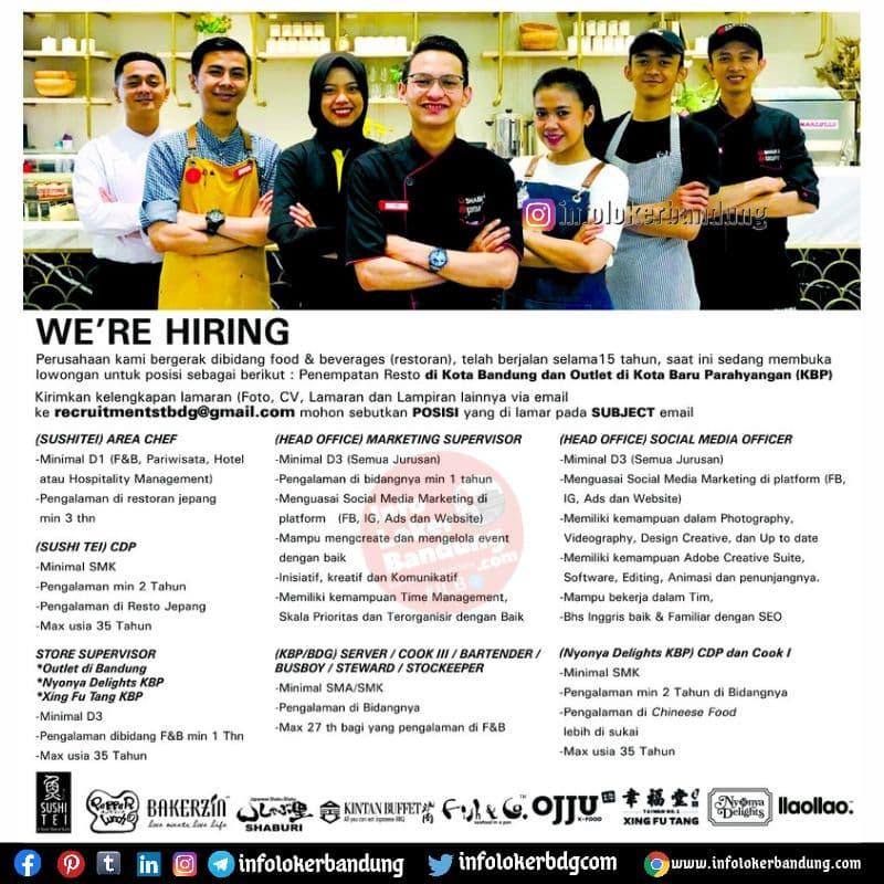 Lowongan Kerja Sushi Tei Group Bandung Agustus 2021
