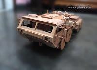 Miniatur Militer HEMTT dari bahan kayu