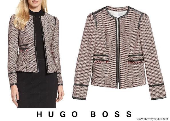 Queen Letizia wore Hugo Boss Keili Collarless Tweed Jacket