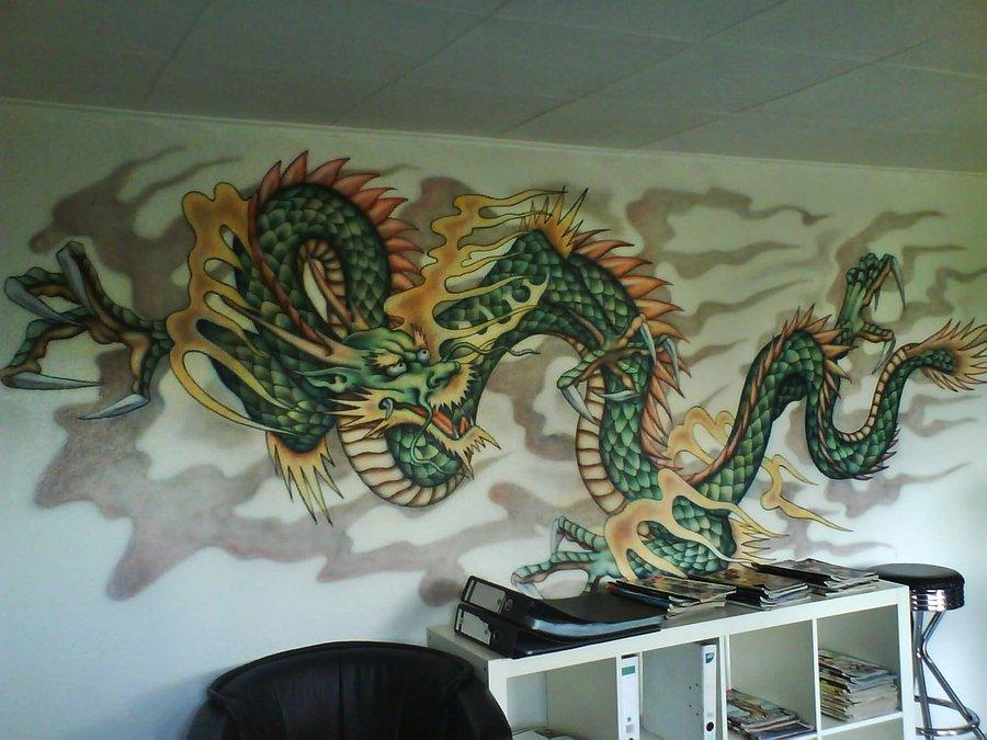 Art Wall Decor: Chinese Murals With Dragon Grafiti Art Photos