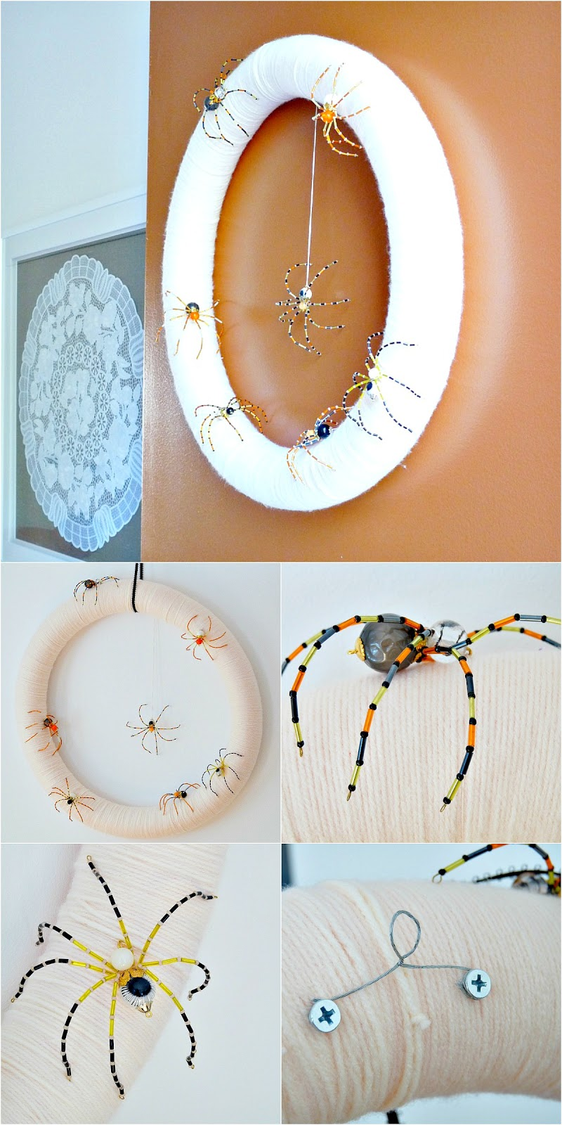 Make a beaded spider Halloween wreath
