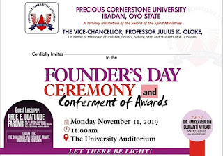 PCU Ibadan Founders Day Ceremony & Awards Schedule 2019