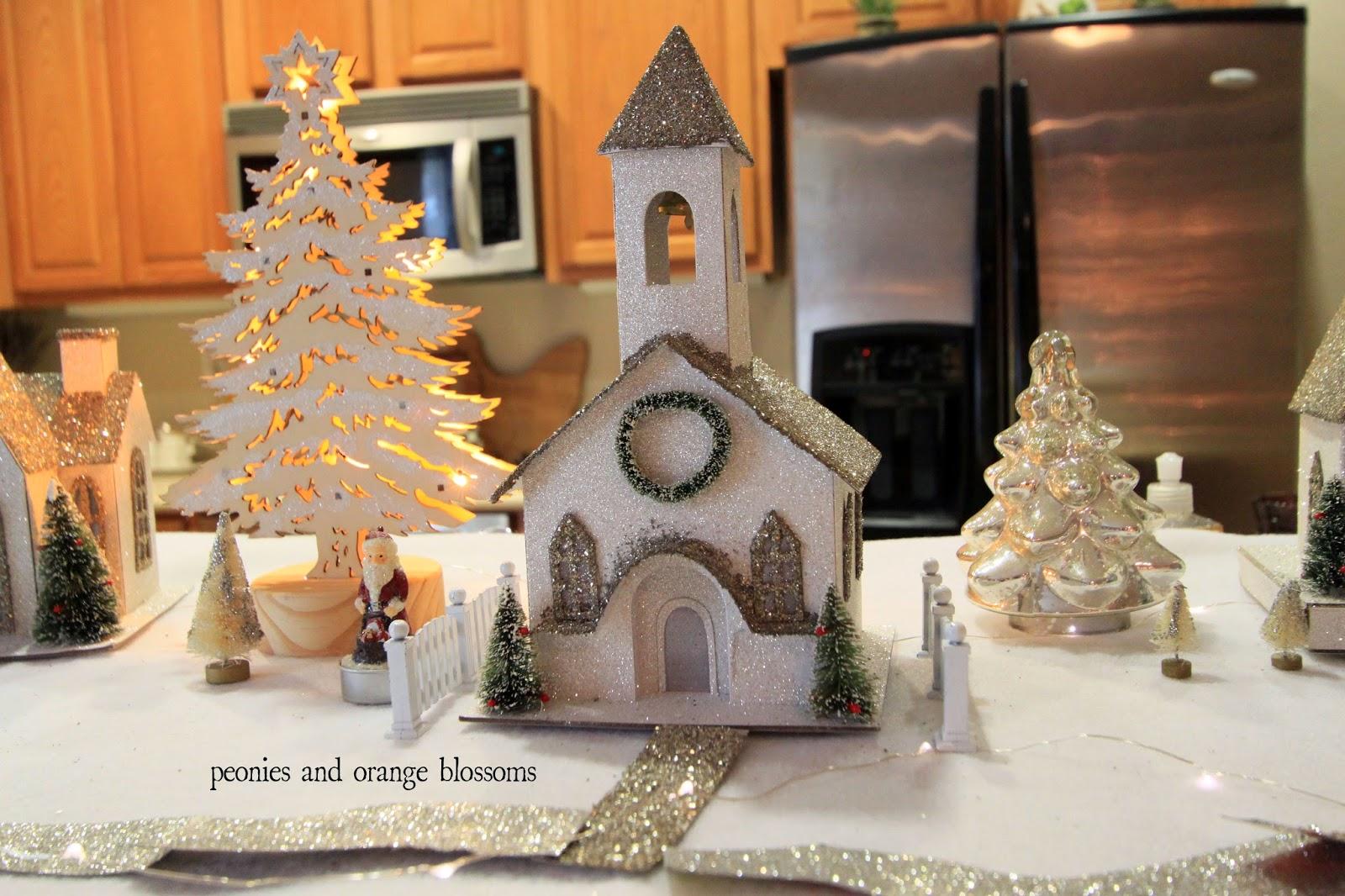 Christmas Glitter Putz House Village Petite Haus