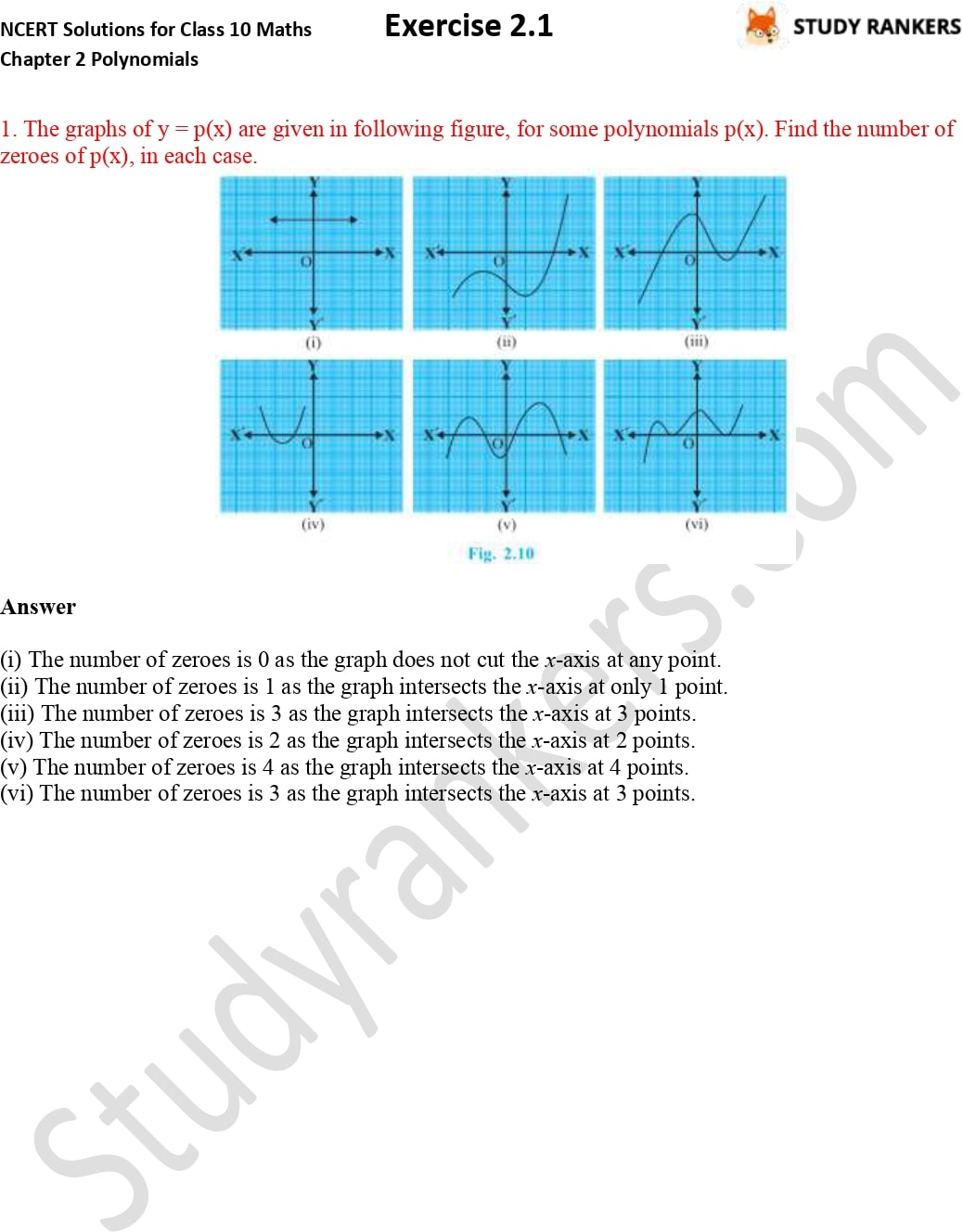 NCERT Solutions for Class 10 Maths Chapter 2 Polynomials Exercise 2.1